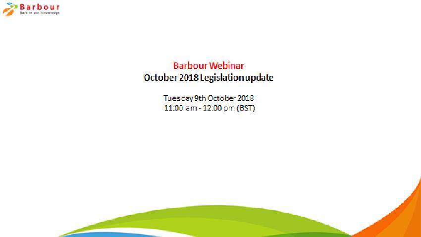 October 2018 Legislation Update